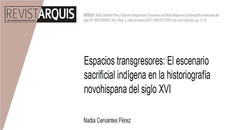 """Portada """"Espacios transgresores: el escenario sacrificial indígena en la historiografía novohispana del siglo XVI"""""""