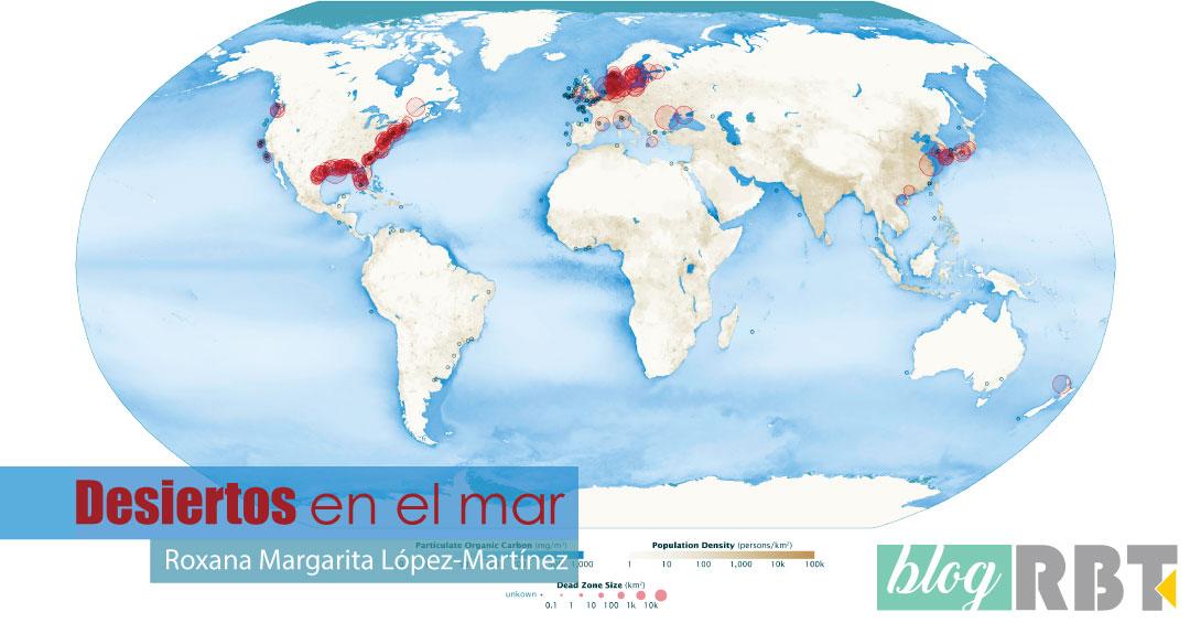 Mapa mundial de zonas muertas acuáticas. Fuente: Robert Simmon & Jesse Allen, NASA (Dominio público)