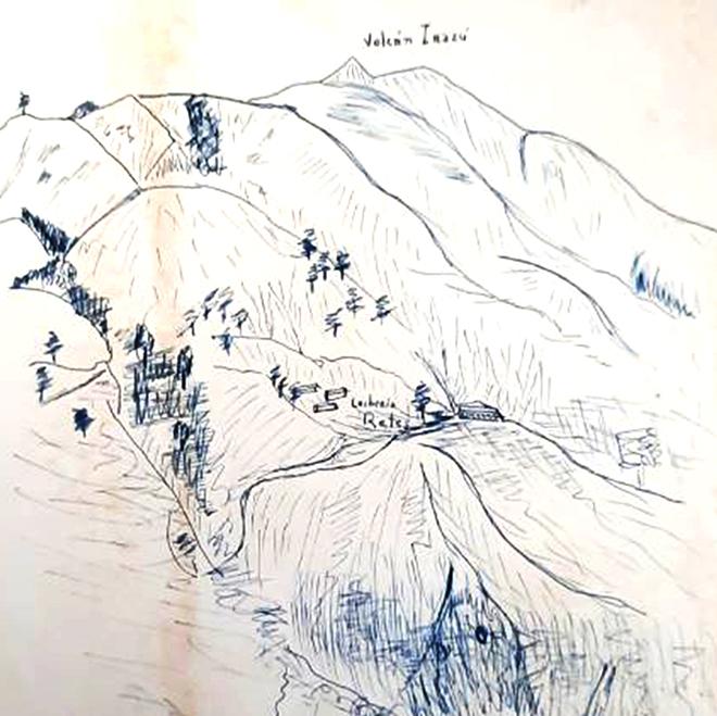 Vista esquemática de bajo ángulo del sitio Retes realizada por Meléndez (1952b)
